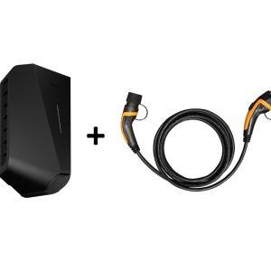 Easee Ladebox mit Ladekabel 1-phasig 32A Ladestation Elektroauto aufladen Elektroauto zu Hause EV Solution schwarz
